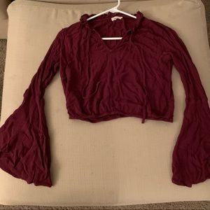 Chloe and Katie Maroon Blouse with Bell Sleeves